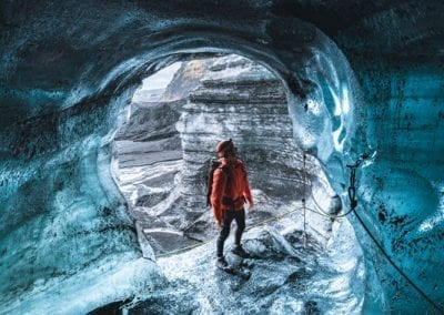 Explore a blue ice cave with our Katlatrack guides