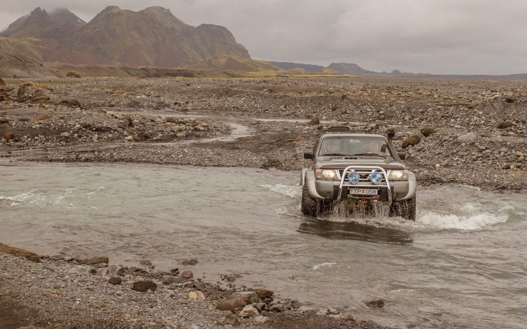 Heading off road on Super Jeep tour of Iceland